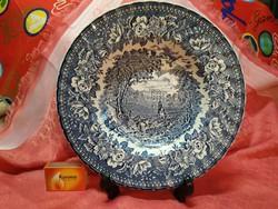 Meseszép angol jelenetes porcelán mély tányér