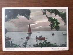 Régi képeslap 1950 Balaton vitorlás hajó