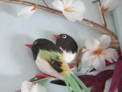 Vintage tollakból készült madaras kép (japán)