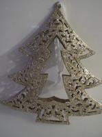 Karácsonyfadísz - FÉM - 3 D - NAGY - CSIPKEHATÁSÚ - CSILLÁMOS - 14 x 13 x 1,5 cm