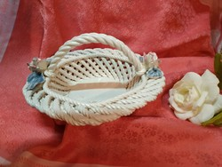 Handmade wicker, rosy porcelain basket