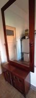 KASTÉLYTÜKÖR ÜVEGES SZEKRÉNNYEL 237 cm magas kétajtós óriási tükrös komód tálaló előszoba étkező