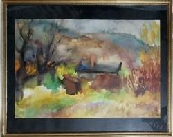 Juhász Erika (1926-2018) akvarell , címe: Ősz a Gugger hegy alatt. Egressy klubban kiállítva (1960)!