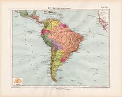 Dél - Amerika politikai térkép 1906, magyar atlasz, eredeti, régi, magyar nyelvű, Amerika