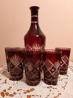 Bordó csiszolt antik ólomkristály boros készlet palack + 6 db pohár