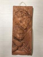 Mária kis Jézussál magyar iparművész kerámia terrakotta falikép dombormű