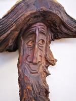 Régi naturalisztikus fa faragvány Szürke Gandalf :) falra akasztható