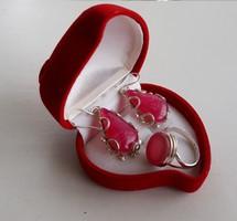 Csepp alaku ezüst fülbevaló gyűrűvel,pink acháttal  S925  ezüst
