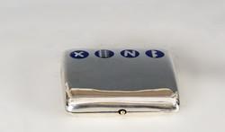 Ezüst cigarettatárca kék zománc díszítéssel