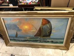 Carel Lodewijk Dake (1886-1946) olaj, vászon festmény, 50 x 100 cm, belga