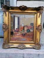 S.Wimberg olaj-karton enteriőr festmény