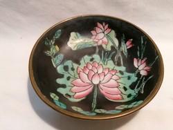 Jelzett réz keretes keleti porcelán fali tálka