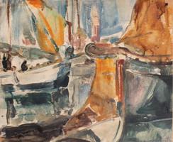 Udvary Pál: Vitorlások a kikötőben, 1937