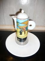 """Olasz porcelán  egy személyes """"kotyogós"""" kávéfőző"""
