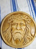 Fába faragott Jézus falikép .