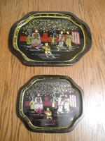 Tálca kínai mintás fém fekete-arany párban 29*23*1 cm 19*16*1 cm
