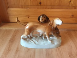 Royal Dux Bohemia porcelán kutya kutyapár