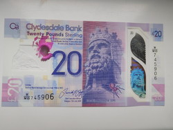 Skócia 20 font 2020  UNC Polymer Clydesdale bank