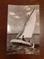 Régi képeslap 1960 Balaton vitorlás hajó