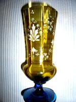 Antik  zománcfestett üveg váza- szép kézműves darab 18 cm