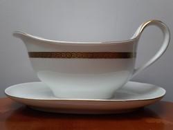 Antik lengyel porcelán szószos tál kiöntő arany csíkkal szegéllyel