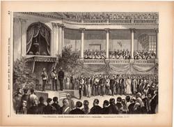 Bécsi világkiállítás, metszet 1873, 22 x 31 cm, Ferenc József, monarchia, újság, téli lovasiskola