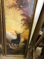 Gyönyörű szarvas ábrázolás, olaj, fán, 95 x 31 cm-es, vadászoknak.