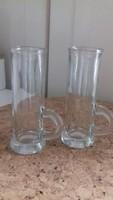 Füles üveg pálinkás pohár (2 db)