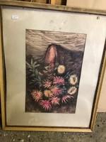 Csendélet, vegyestechnika vászon festmény, 45 x 27  cm-es.