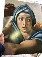Színes linonyomat, női fej, 60 x 50 cm-es, lakberendezéshez.