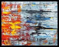 """"""" Ősz a vízparton """" Koso festmény ,hatalmas 80 x 105 cm ,keretes akció"""