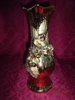 Román porcelán váza, rózsa mintával, arany bevonattal.