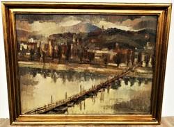 Csabai Rott Margit (1893 - 1973) Ponton híd a Dunán 1946 c. festménye 91x71cm EREDETI GARANCIÁVAL