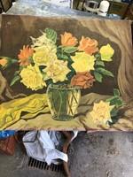 Csendélet olaj festmény,festő kartonon, 45 x 60 cm-es.