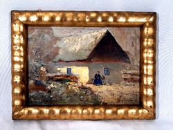 Pörge Gergely (1858 - 1930) TANYA IDŐS ASSZONNYAL ... 1914 BŐL OLAJ FESTMÉNY !