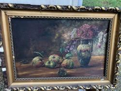Csendélet, olaj, vászon festmény, 35 x 55 cm-es.