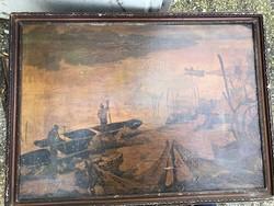 Kikötő ábrázolás, festmény, 40 x 65 cm-es, gyűjtői darab.
