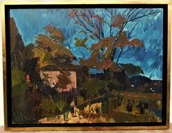Id. Benedek Jenő (1906 - 1987) Balatoni táj Képcsarnokos olajfestmény 88x68cm EREDETI GARANCIÁVAL
