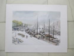 A régi tengeri teherkikötő Bilbaóban, 1900-as évek. Akvarell után, a kikötő domborpecsétjével