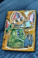 Zsolnay bohóc mintás pirogránit falikép