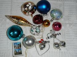 Régi üveg karácsonyfadísz ( 12 db.)