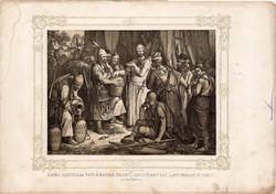 Képek Magyarország történetéből (1), litográfia 1873, kőnyomat, eredeti, történelmi,21 x 29, Árpád
