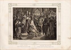 Képek Magyarország történetéből (3), litográfia 1873, kőnyomat, eredeti, történelmi, 21 x 29, István
