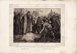 Képek Magyarország történetéből (9), litográfia 1873, kőnyomat, eredeti, történelmi, Kálmán király