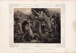 Képek Magyarország történetéből (10), litográfia 1873, kőnyomat, eredeti, történelmi, kép, 21 x 29
