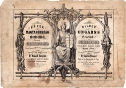 Képek Magyarország történetéből címlap, litográfia 1873, kőnyomat, eredeti, történelmi, 30 x 38