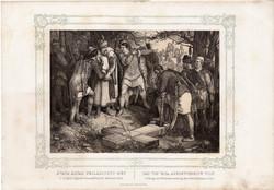 Képek Magyarország történetéből (5), litográfia 1873, kőnyomat, eredeti, történelmi, 21 x 29, Vata
