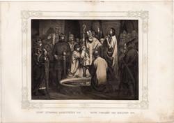 Képek Magyarország történetéből (2), litográfia 1873, kőnyomat, eredeti, történelmi, 22 x 29, István