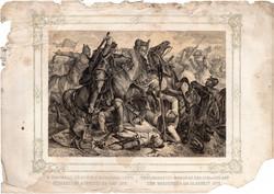 Képek Magyarország történetéből (14), litográfia 1873, kőnyomat, eredeti, történelmi, 22 x 31, csata