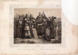 Képek Magyarország történetéből (16), litográfia 1873, kőnyomat, eredeti, történelmi, vérszerződés